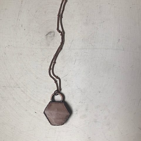 Rose Quartz Hexagon Necklace - Ready to Ship