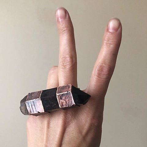 Raw Smoky Quartz Point Two Finger Ring - (Super Blood Wolf Moon)
