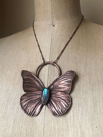 Electroformed Butterfly & Blue Labradorite Necklace - Spring Equinox Collection
