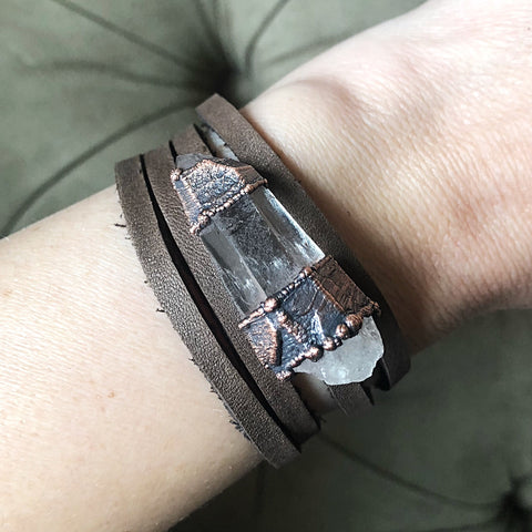 Raw Clear Quartz Point and Leather Wrap Bracelet/Choker - Ready to Ship