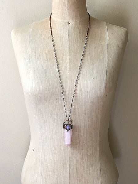Rose Quartz Point with Rainbow Moonstone Necklace - Ready to Ship (5/17 Update)