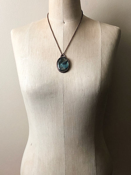 Labradorite Oval Necklace #1 - Ready to Ship (5/17 Update)