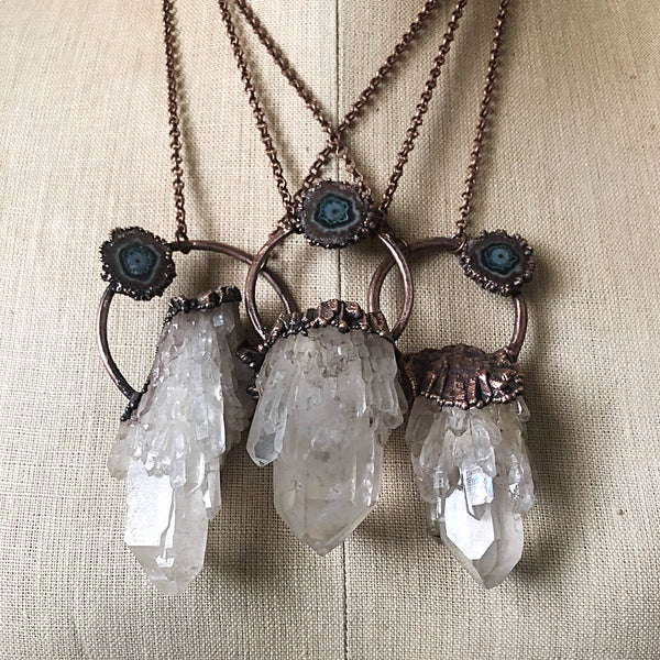 Candle Quartz Cluster with Stalactite Moon Necklace - Snow Moon Collection