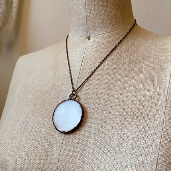 Selenite Full Moon Necklace - Ready to Ship