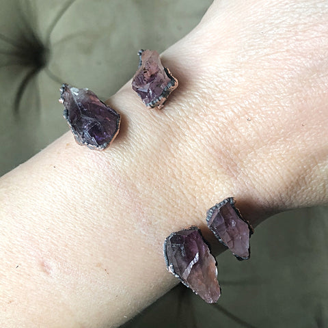 Raw Amethyst Point Cuff Bracelet - Snow Moon Collection