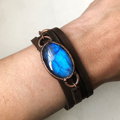 Labradorite and Leather Wrap Bracelet/Choker #1 (5/17 Update)