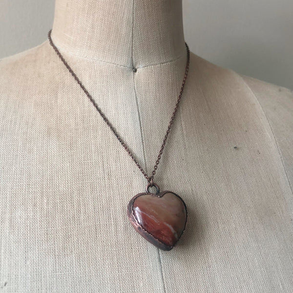 Polychrome Jasper Heart Necklace #14