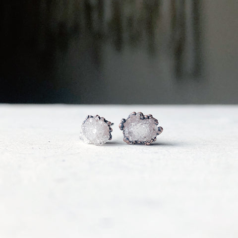 Clear Quartz Druzy Earrings #2 - Ready to Ship