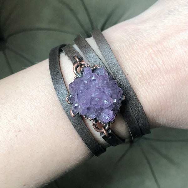 Amethyst Rosette Wrap Bracelet/Choker #2 - Ready to Ship