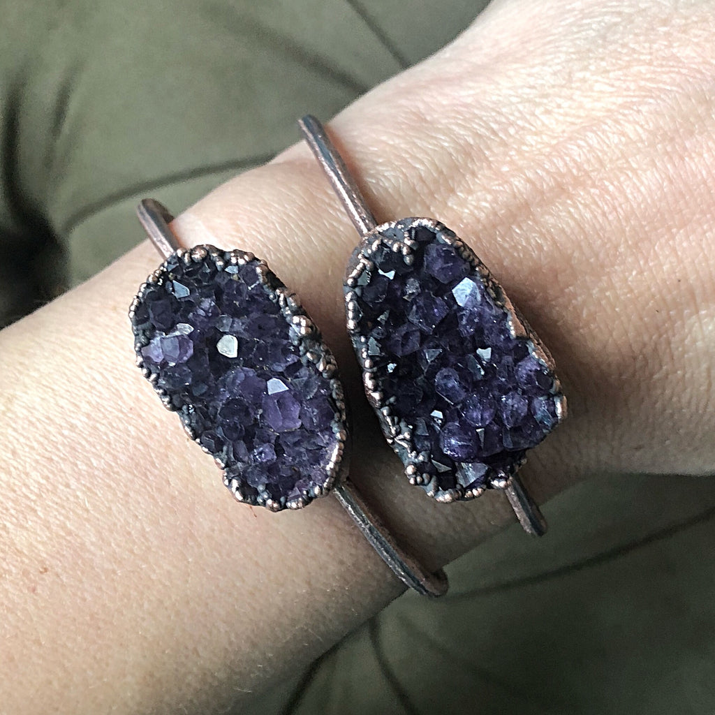 Amethyst Cluster Cuff Bracelet - Snow Moon Collection