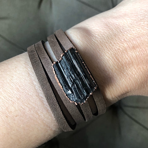 Raw Black Tourmaline and Leather Wrap Bracelet/Choker - Made to Order