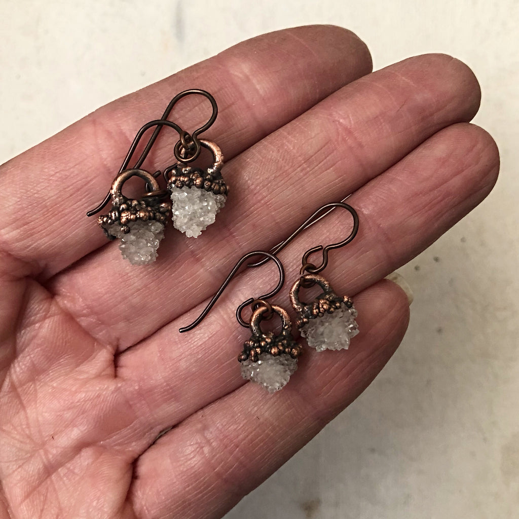 Clear Quartz Druzy Hanging Earrings