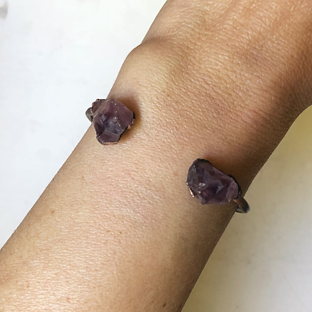 Raw Amethyst Chakra Cuff Bracelet - Made to Order