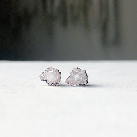 Clear Quartz Druzy Earrings #1 - Ready to Ship