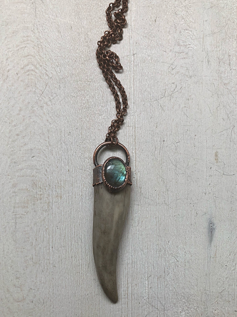 Labradorite & Naturally Shed Deer Antler Tip Necklace #1