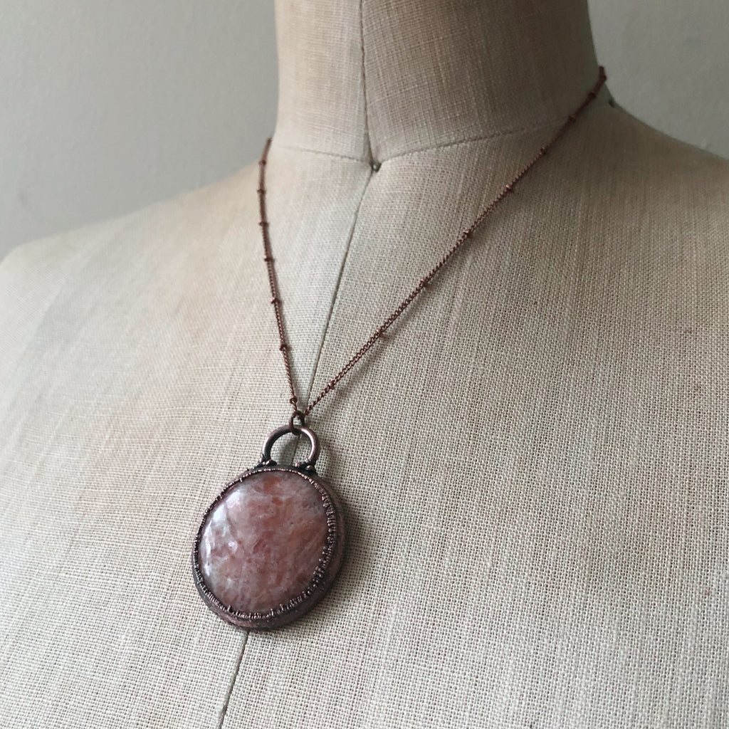 Round Sunstone Necklace - Ready to Ship