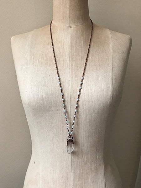 Raw Clear Quartz Point Necklace with Amazonite Accented Chain (Satya Collection)