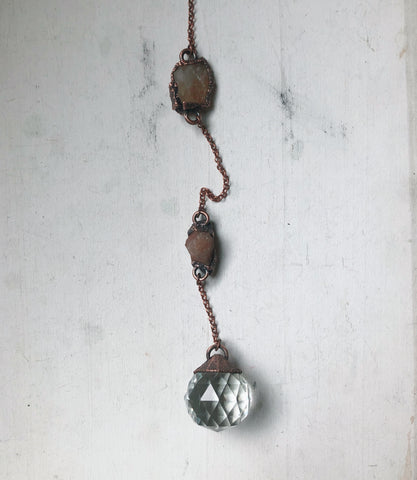 Large Sun Catcher on Sunstone & Citrine Chain - Ready to Ship