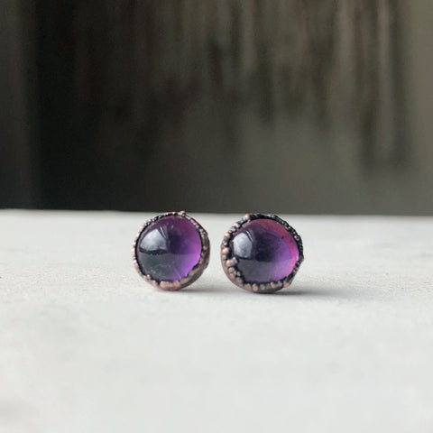 Round Amethyst Earrings #1 - Ready to Ship