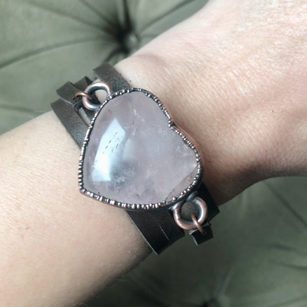 Rose Quartz Heart and Leather Wrap Bracelet/Choker