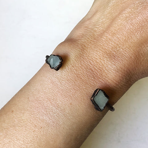 Raw Aquamarine Chakra Cuff Bracelet - Made to Order