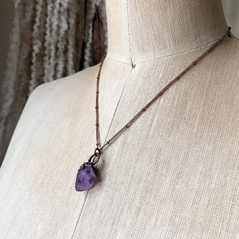 Raw Tibetan Amethyst Mini Cluster Necklace #1