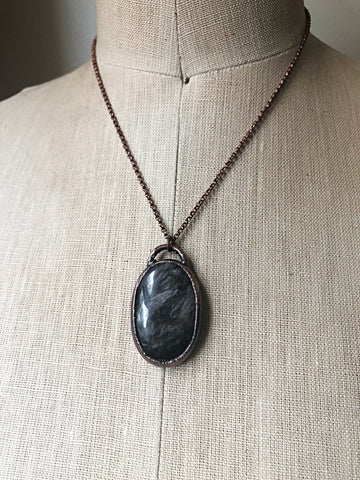 Silver Obsidian Oval Necklace #1 (Ready to Ship) - Darkness Calling Collection