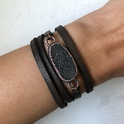 Charcoal Druzy and Leather Wrap Bracelet/Choker #1 (Ready to Ship) - Darkness Calling Collection