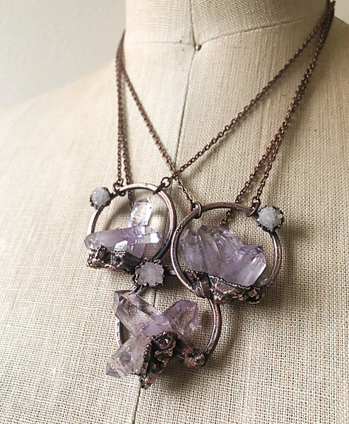 Vera Cruz Amethyst Cluster with Druzy Moon Necklace - Snow Moon Collection