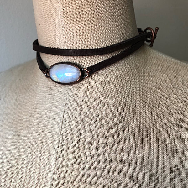 Rainbow Moonstone & Leather Wrap Bracelet/Choker - Ready to Ship