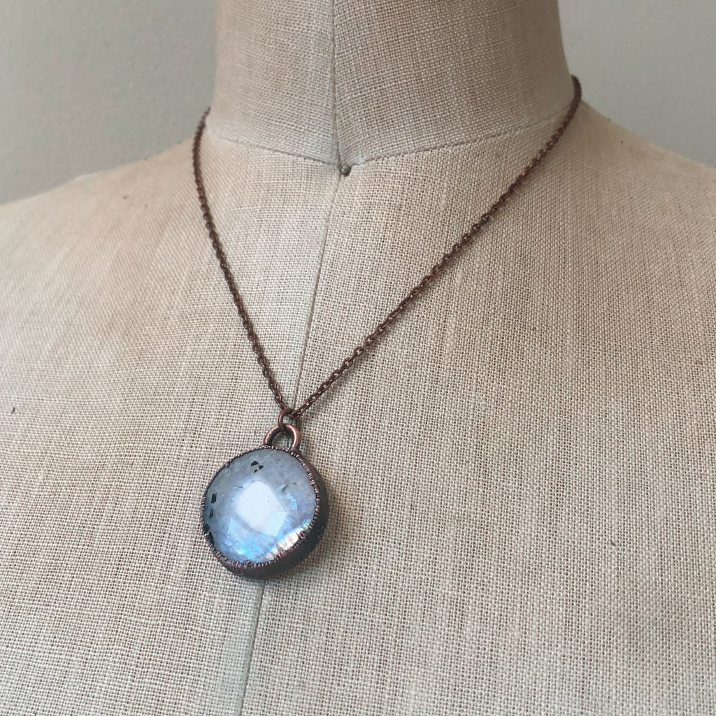 Rainbow Moonstone Round Necklace #1 - Ready to Ship