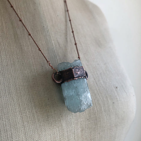 Raw Aquamarine Necklace #2 - Ready to Ship