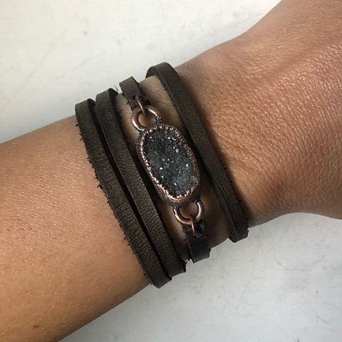 Charcoal Druzy and Leather Wrap Bracelet/Choker #2 (Ready to Ship) - Darkness Calling Collection