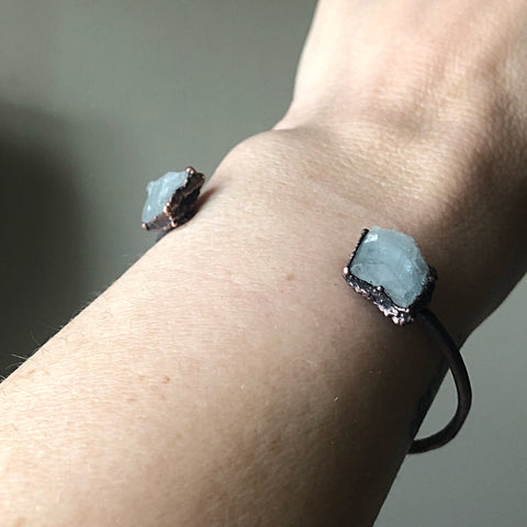 Raw Aquamarine Chakra Cuff Bracelet - Ready to Ship