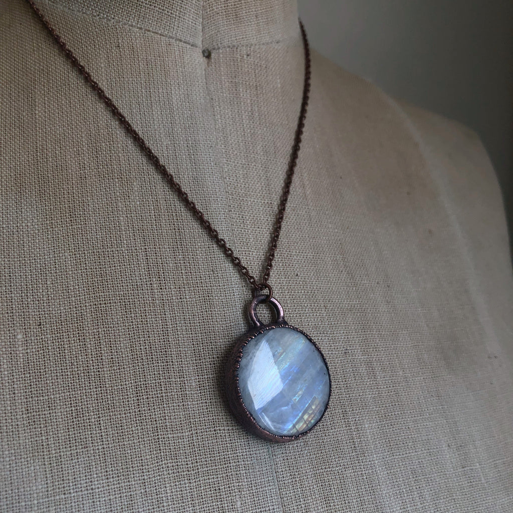 Rainbow Moonstone Necklace Round #2 - Ready to Ship