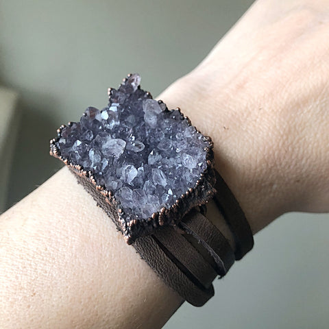 Raw Amethyst Cluster and Leather Wrap Bracelet/Choker - Ready to Ship