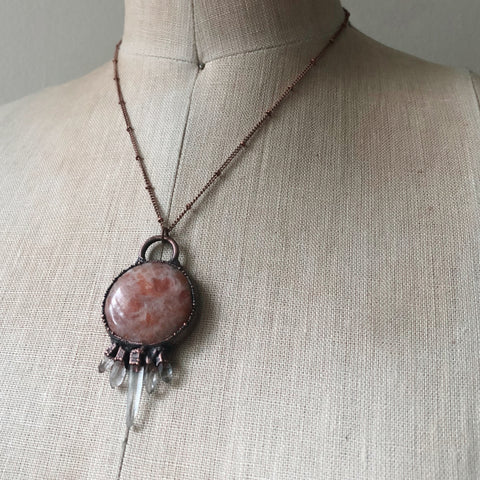 Round Sunstone & Clear Quartz Necklace - Ready to Ship