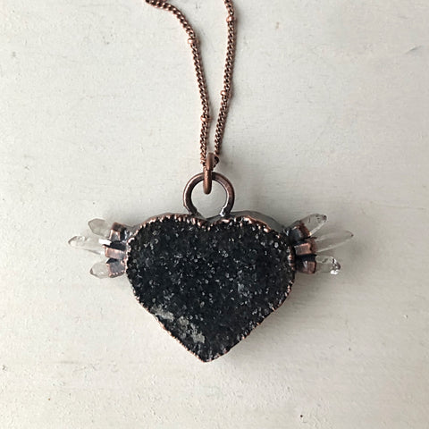 Dark Amethyst Druzy & Clear Quartz Point Tell Tale Heart Necklace #1