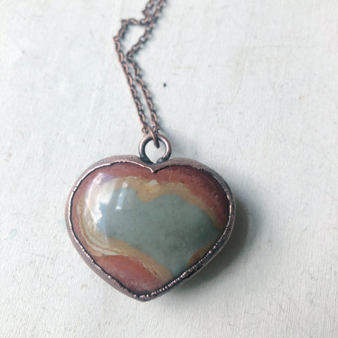Polychrome Jasper Heart Necklace #4