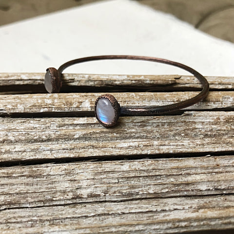 Rainbow Moonstone Cuff Bracelet #1 (Flower Moon Collection)