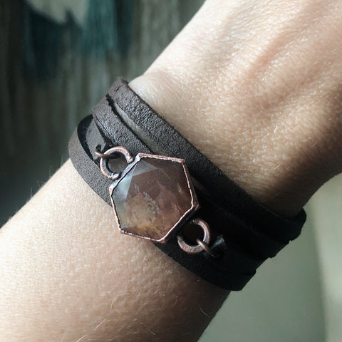 Sunstone Hexagon and Leather Wrap Bracelet/Choker - Ready to Ship