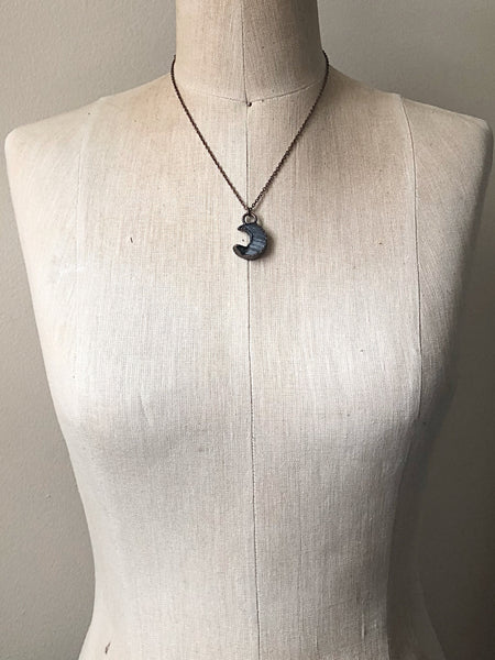 Chalcedony Crescent Moon Necklace (Satya Collection)