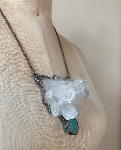Clear Quartz, Raw Amazonite & Rainbow Moonstone Statement Necklace - Ready to Ship