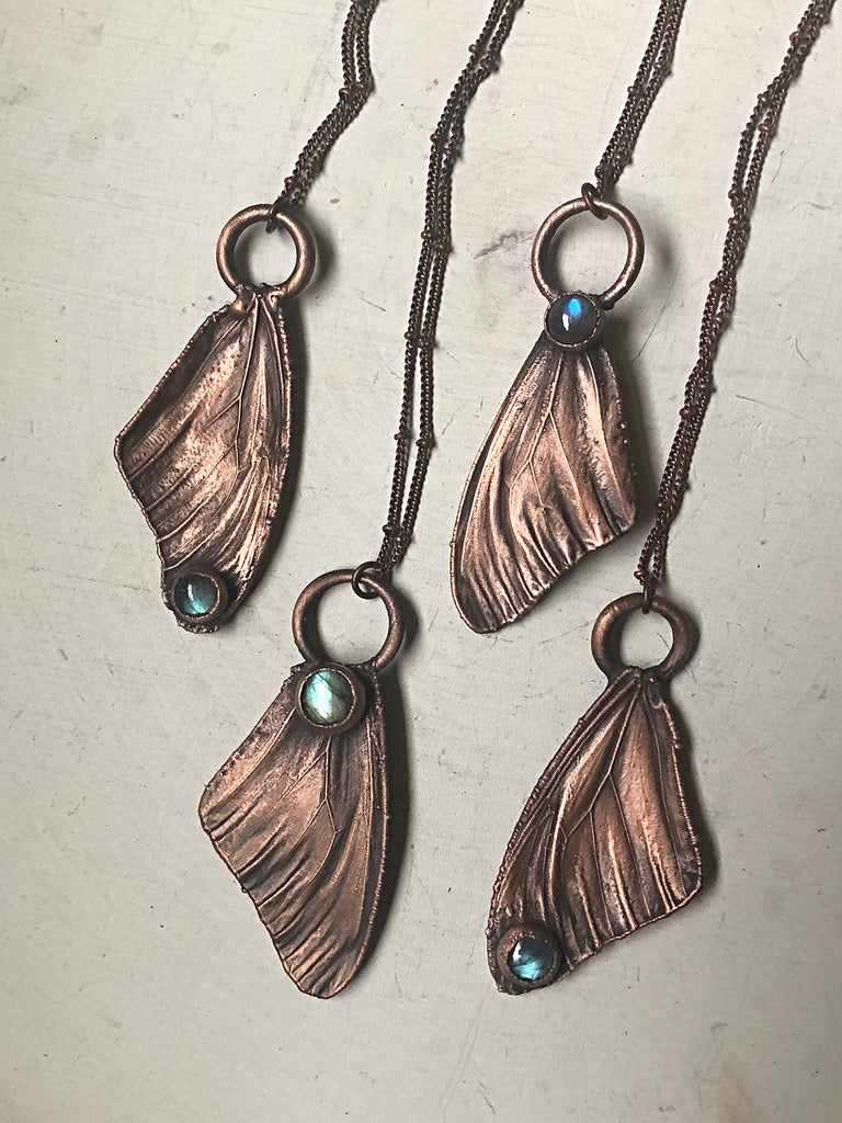 Electroformed Butterfly Wing & Labradorite Necklace - Spring Equinox Collection