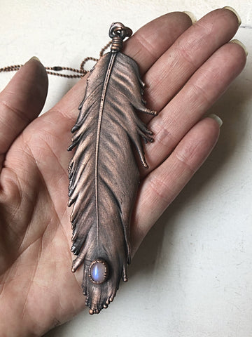 Electroformed Feather and Rainbow Moonstone Necklace #1 - Moksha Collection
