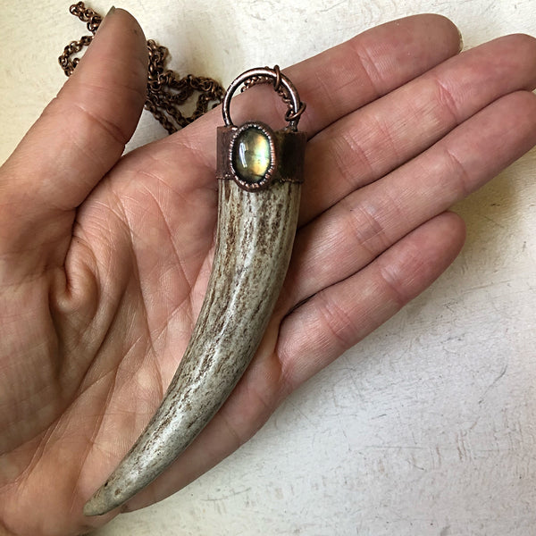 Labradorite & Naturally Shed Deer Antler Tip Necklace #1 - Ready to Ship
