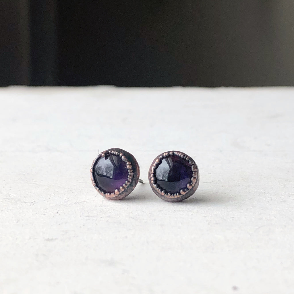 Round Amethyst Earrings #1- Ready to Ship
