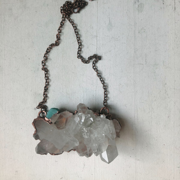 Clear Quartz  and Raw Amazonite Statement Necklace - Ready to Ship