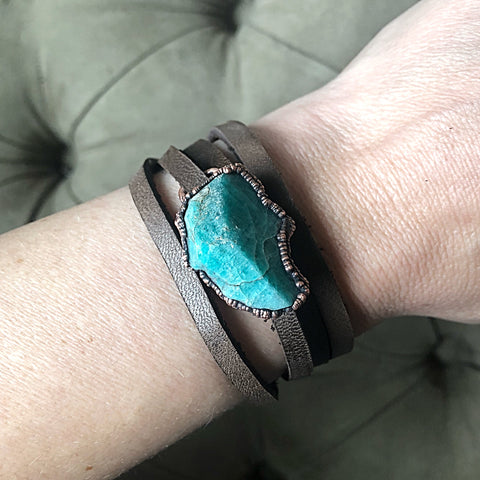 Raw Amazonite and Leather Wrap Bracelet/Choker - Ready to Ship
