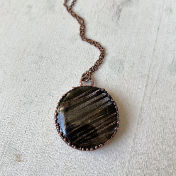 Hypersthene Black Moon Lilith Necklace #2 - Ready to Ship